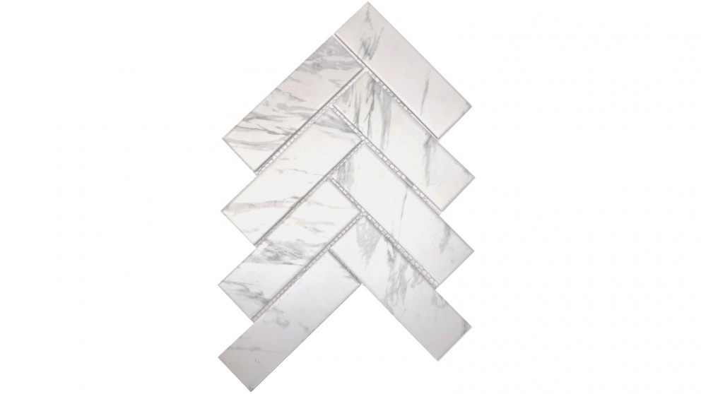 Carrara Look 45x145mm Herringbone Matte Glazed Porcelain Tile