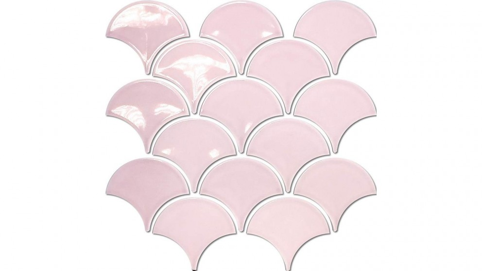 Fishscale 73mm Concave Gloss Tile - Pastel Pink