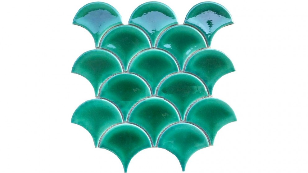 Fishscale 73mm Concave Gloss Tile - Reef Green