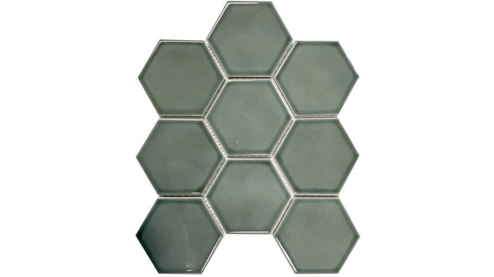 Glazed Hexagon 95x110mm Tile - Water Green
