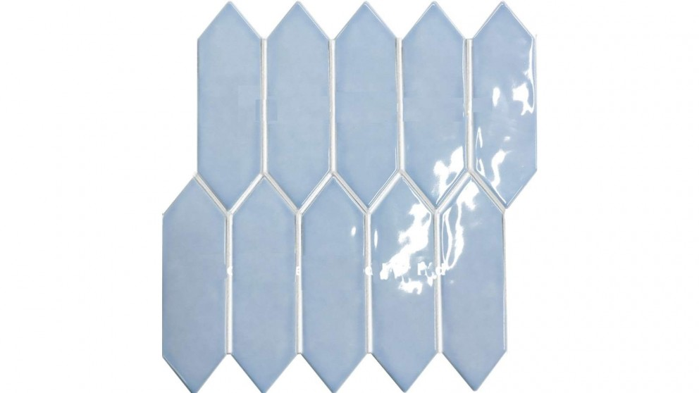 Arrow Shape 55x195mm Gloss Tile - Light Blue