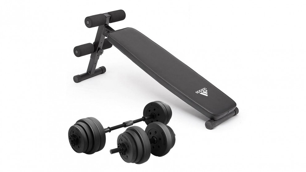 PowerTrain 20Kg Dumbbells with 10433 Exercise Bench