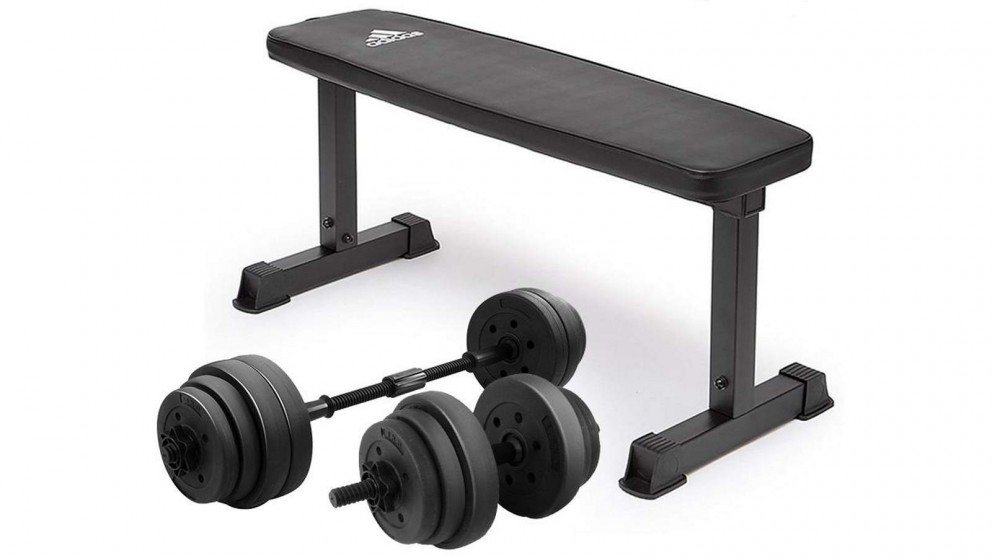 PowerTrain 20kg Dumbbells with 10437 Bench