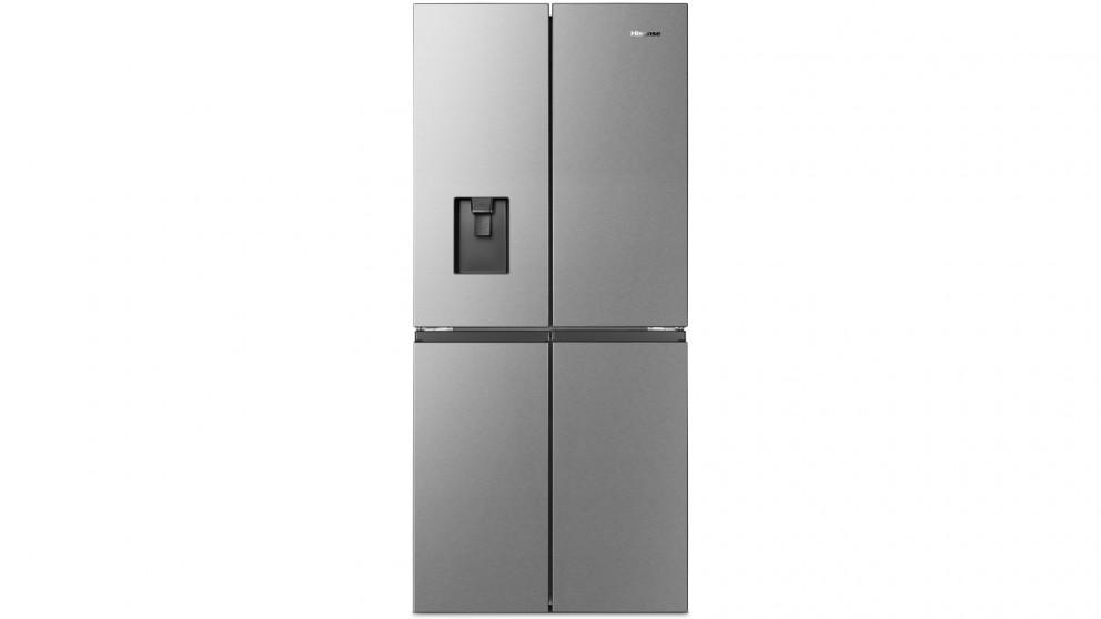 Hisense 454L PureFlat Quad Door French Door Fridge with Water Dispenser- Stainless Steel