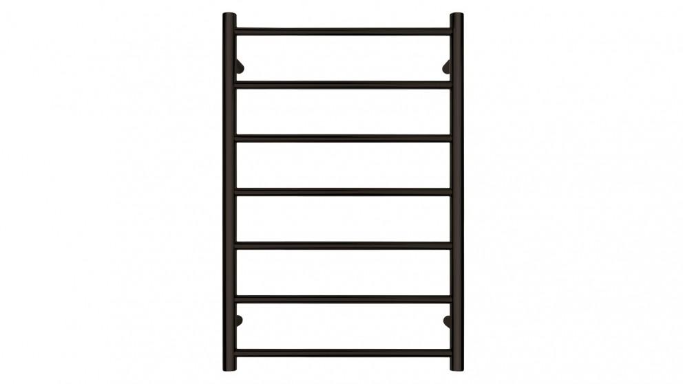 Forme Black Satin Round 7 Bar Heated Towel Rail