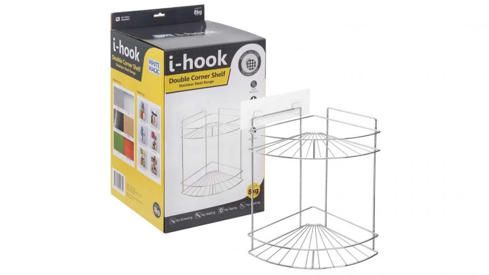 White Magic i-Hook Double Corner Shelf
