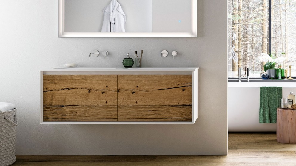 Parisi IKS LV2 1400mm Wall Mounted Vanity with Double Mineral Marmo Top
