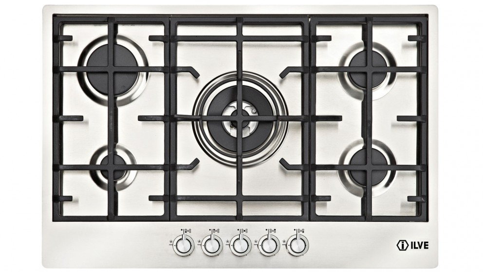 ILVE 900mm 5 Burner Gas Cooktop - Stainless Steel