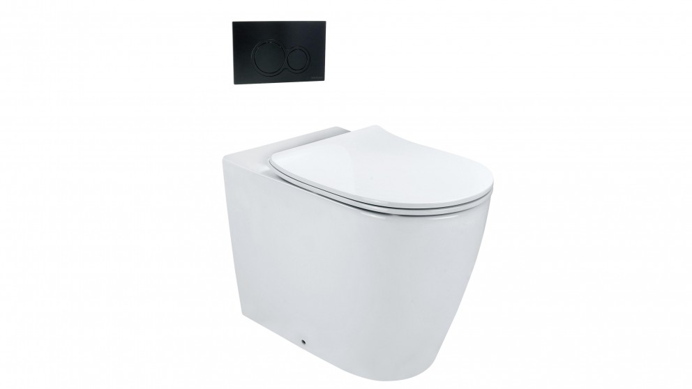 Arcisan Synergii Wall Faced Pan with In Wall Cistern and Kibo Matte Black Flush Panel