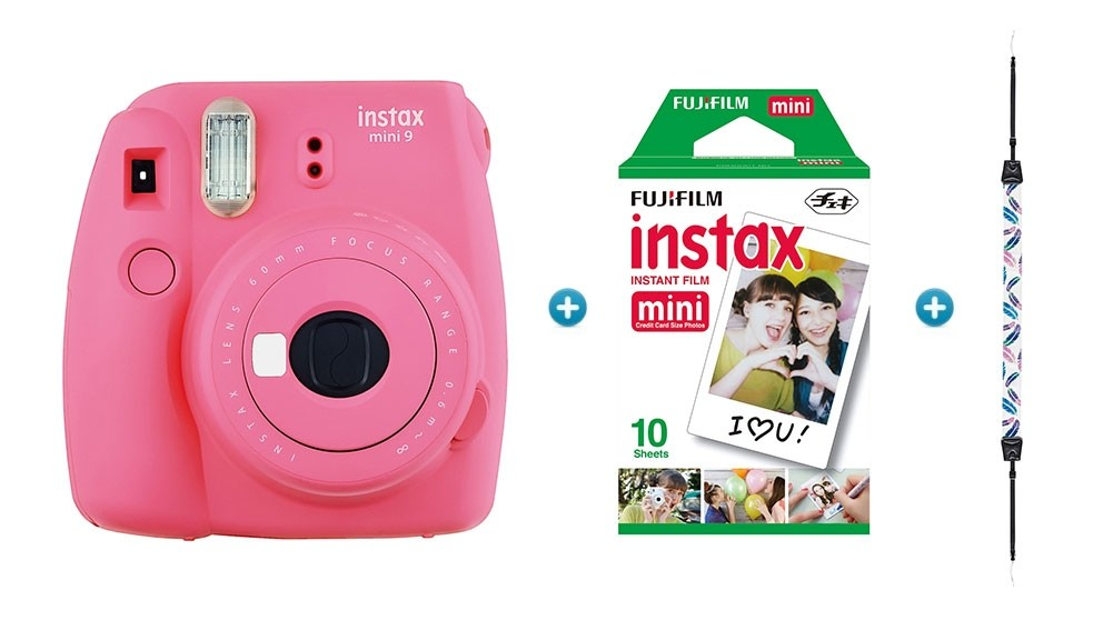 f266b44d18ed Buy Instax Mini 9 Instant Camera - Flamingo Pink with Feather Strap & 10  Pack of Film | Harvey Norman AU