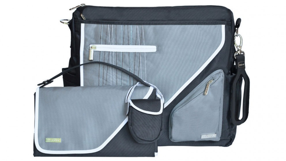 JJ Cole Black Stitch Nappy/Diaper Bag Wallet Organizer/Pram Stroller Holder