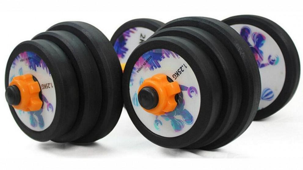 JMQ Fitness Adjustable Dumbbells Set Exercise Fitness Dumbbells Cast Iron Metal Handles - Black