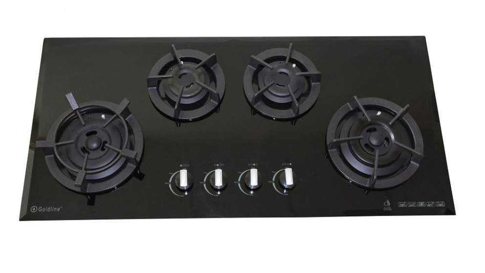 Goldline 900mm GL4 4 Zone Natural Gas Cast Iron Cooktop - Black