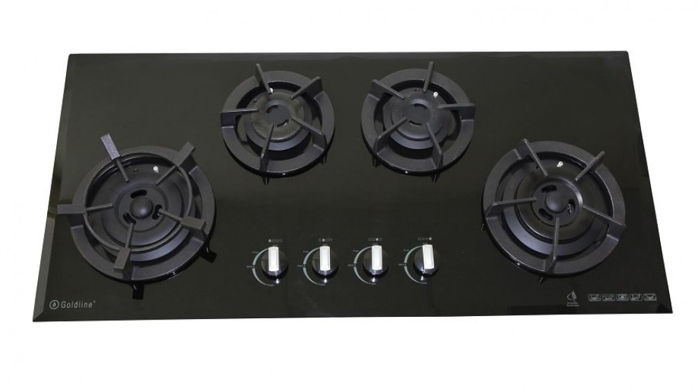 Goldline 900mm GL4 4 Zone LPG Cast Iron Cooktop - Black