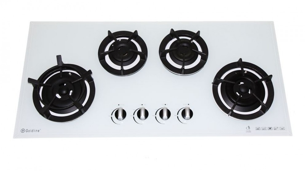 Goldline 900mm GL4 4 Zone Natural Gas Cast Iron Cooktop - White