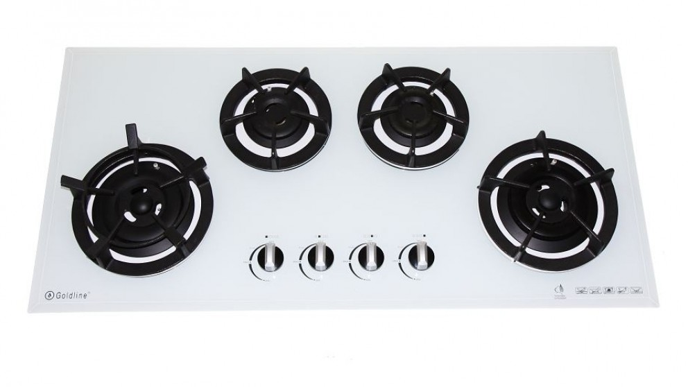 Goldline 900mm GL4 4 Zone LPG Cast Iron Cooktop - White