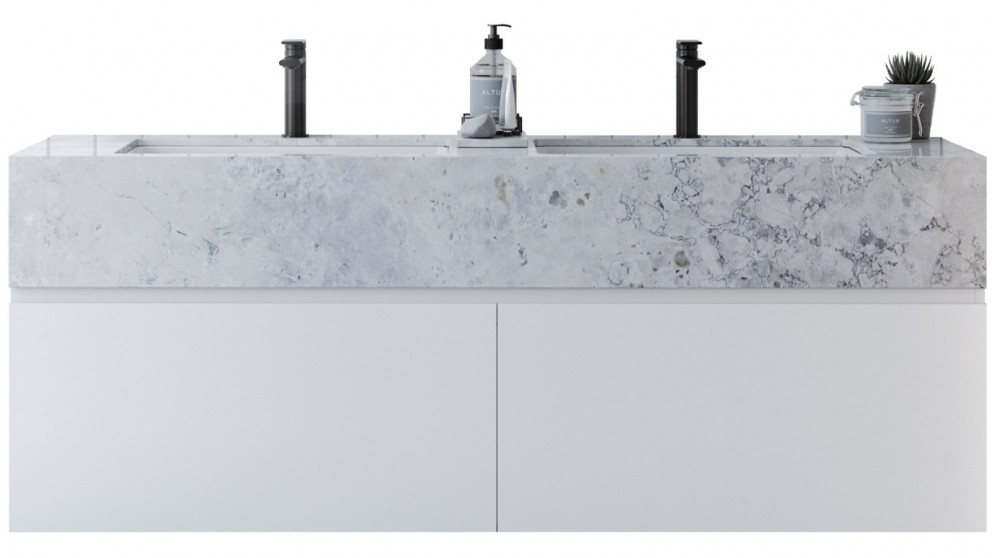 Kingsley 1500mm Double Bowl SilkSurface Box Top Vanity with White Gloss Ceramic Basin