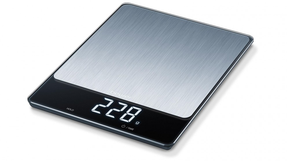 Beurer KS34 Glass Digital Kitchen Scale - Stainless Steel