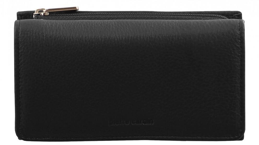 Italian Leather Tri-fold Wallet - Black