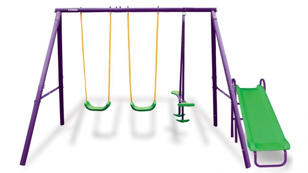 Kahuna 4-Seater Swing Set with Slide - Purple/Green