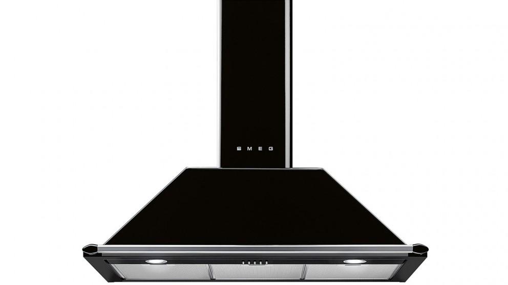 Buy Smeg 900mm Victoria Aesthetic Canopy Rangehood Black