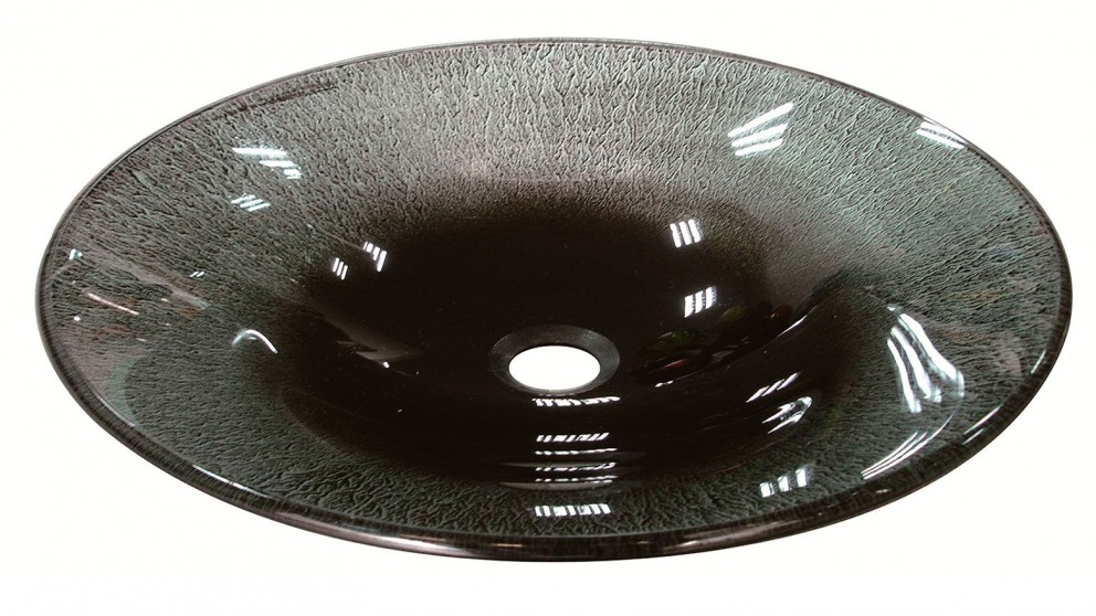 Ledin 495mm Black and Silver Oval Glass Basin