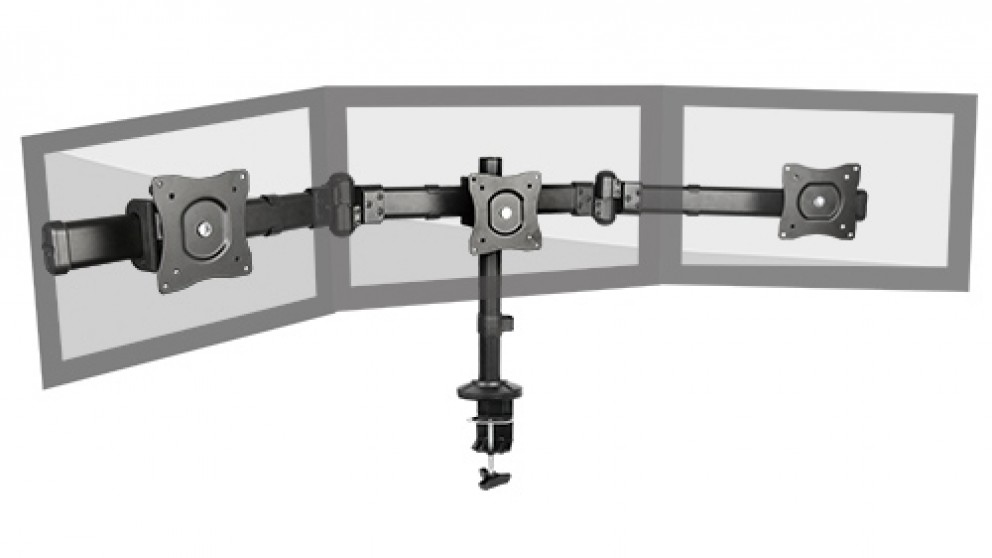 """Brateck 27"""" Triple Monitor Arm Mounts with Desk Clamp"""