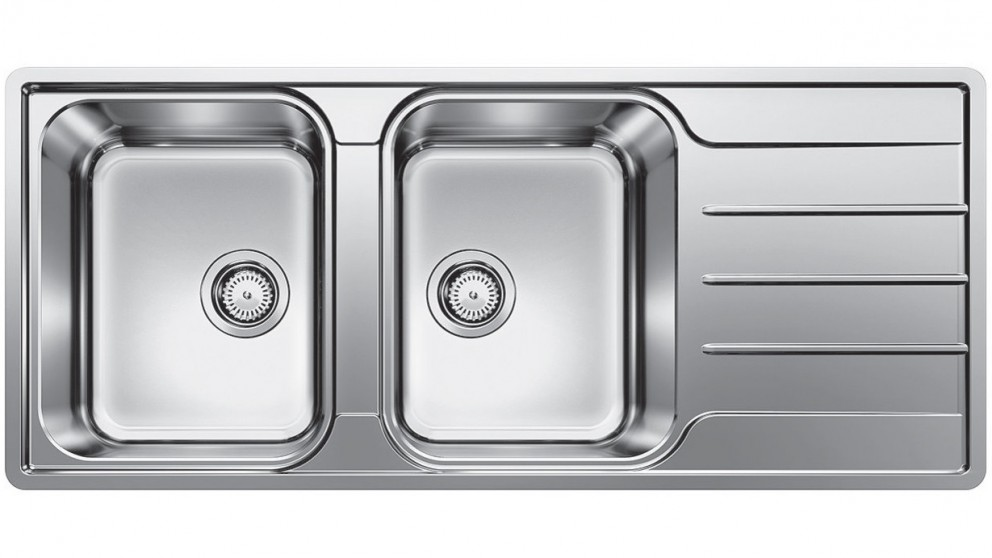Blanco Left Hand Double Bowl Inset/Flushmount Sink with Drainer