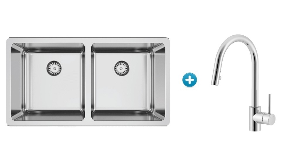 Lago Inset Sink Package with Pull-Out Kitchen Mixer