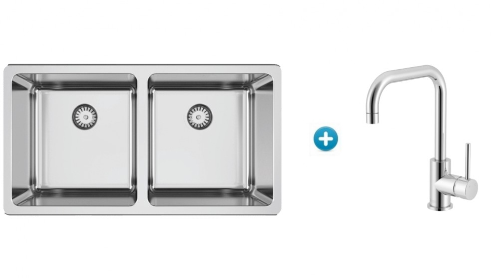 Abey Lago Inset Double Bowl Kitchen Sink and Square Sidelever ...