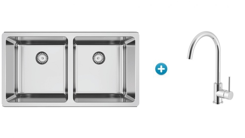 Abey Lago Inset Double Bowl Kitchen Sink and Goose Sidelever Mixer Package