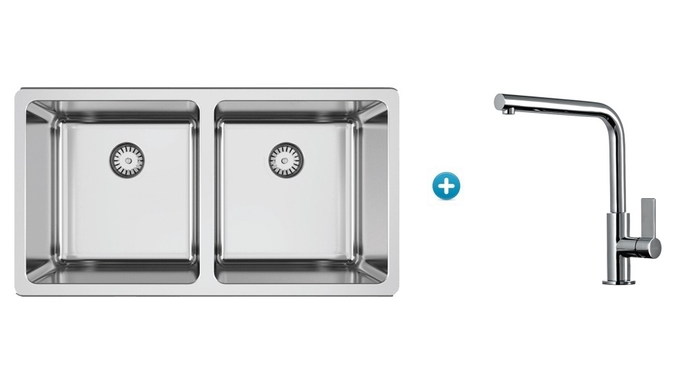 Abey Lago Inset Double Bowl Kitchen Sink and Mixer Package