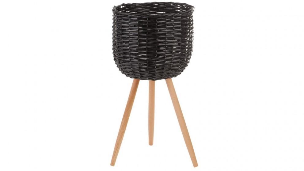 Cooper & Co. Large Natural Wicker Flower Basket Pot Planter Stand - Black