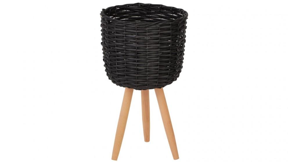 Cooper & Co. Medium Natural Wicker Flower Basket Pot Planter Stand - Black