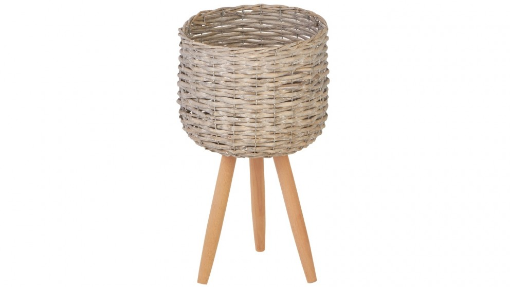 Cooper & Co. Medium Natural Wicker Flower Basket Pot Planter Stand - Grey
