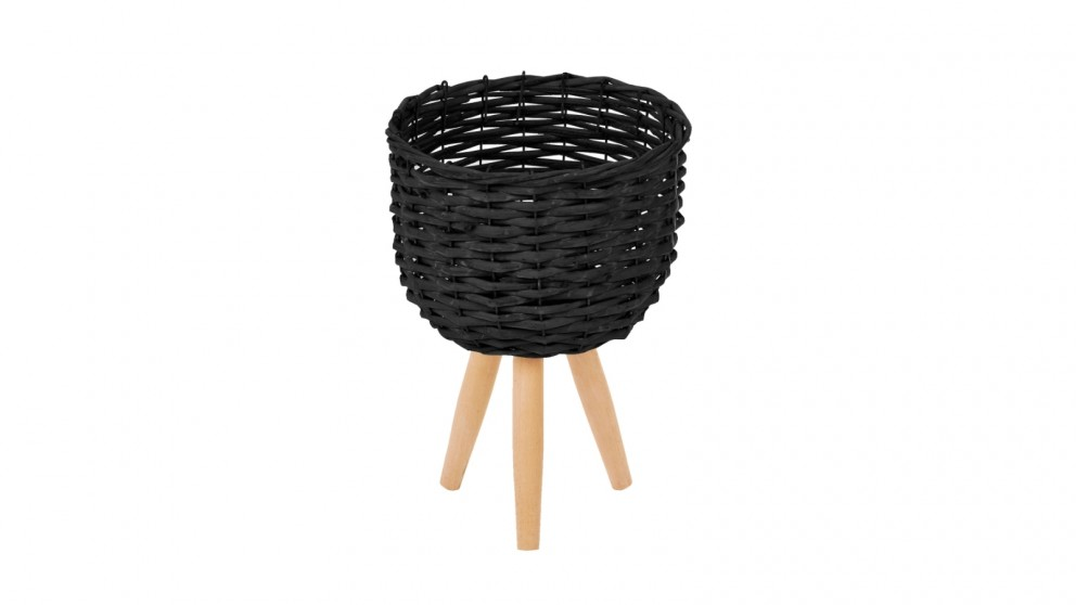 Cooper & Co. Small Natural Wicker Flower Basket Pot Planter Stand - Black