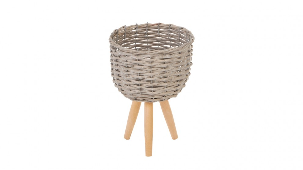 Cooper & Co. Small Natural Wicker Flower Basket Pot Planter Stand - Grey