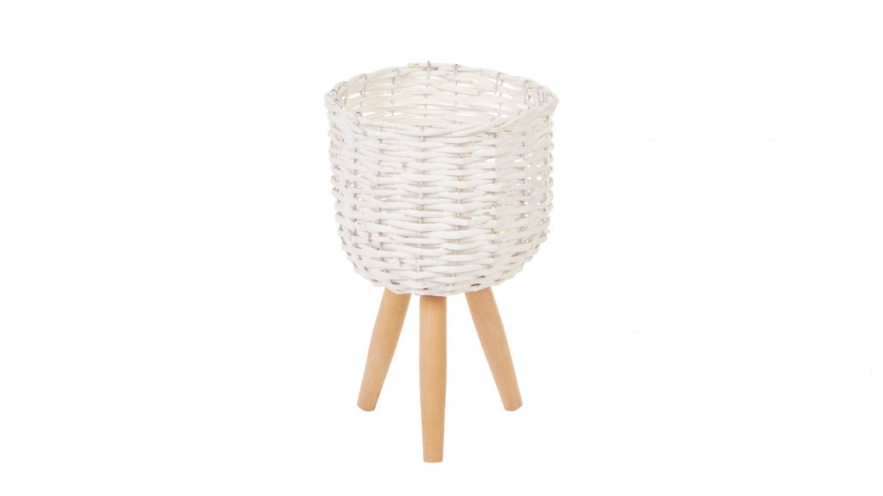 Cooper & Co. Small Natural Wicker Flower Basket Pot Planter Stand - White