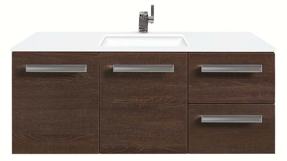 Forme Linea 1200mm Wall Hung with Colourstone Top Vanity - Oak