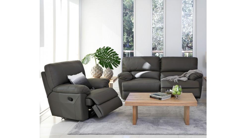Delle 3 Piece Leather Recliner Lounge Suite