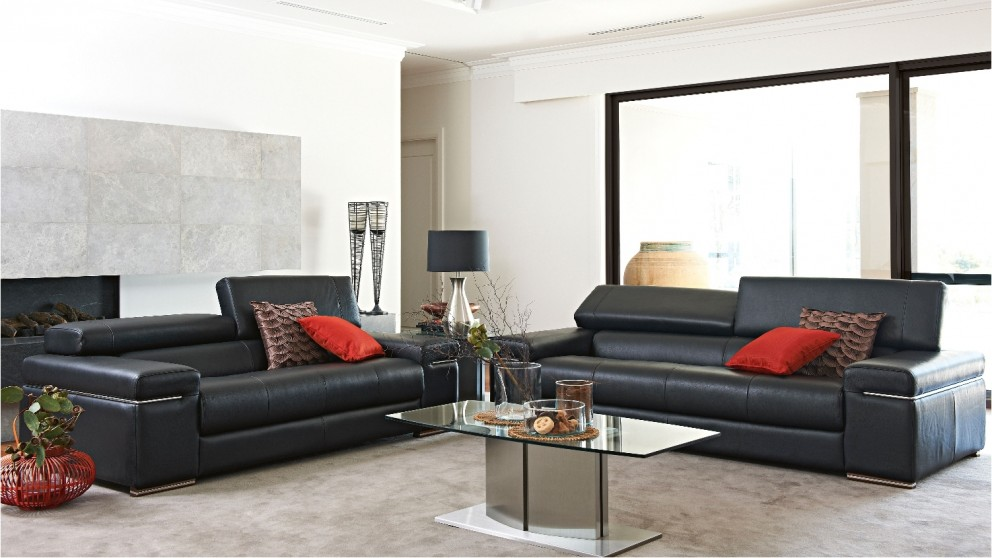 Buy taylor 3 seater leather sofa harvey norman au for Leather sofa 7 seater