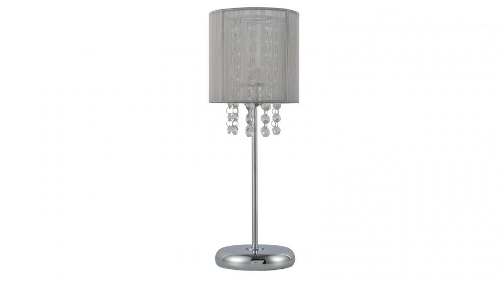 Lexi Lighting Emilia Table Lamp with Acrylic Drops - Grey Shade