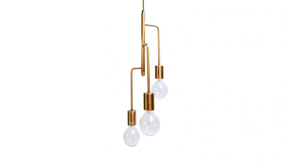Lexi Lighting Rohan 3 Tubular Suspension Pendant Light - Antique Brass