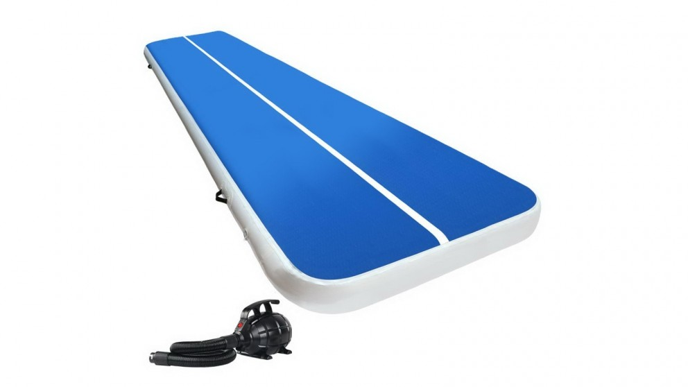 Everfit 6x2m Inflatable Air Track Mat 20cm Thick with Pump Tumbling Gymnastics - Blue