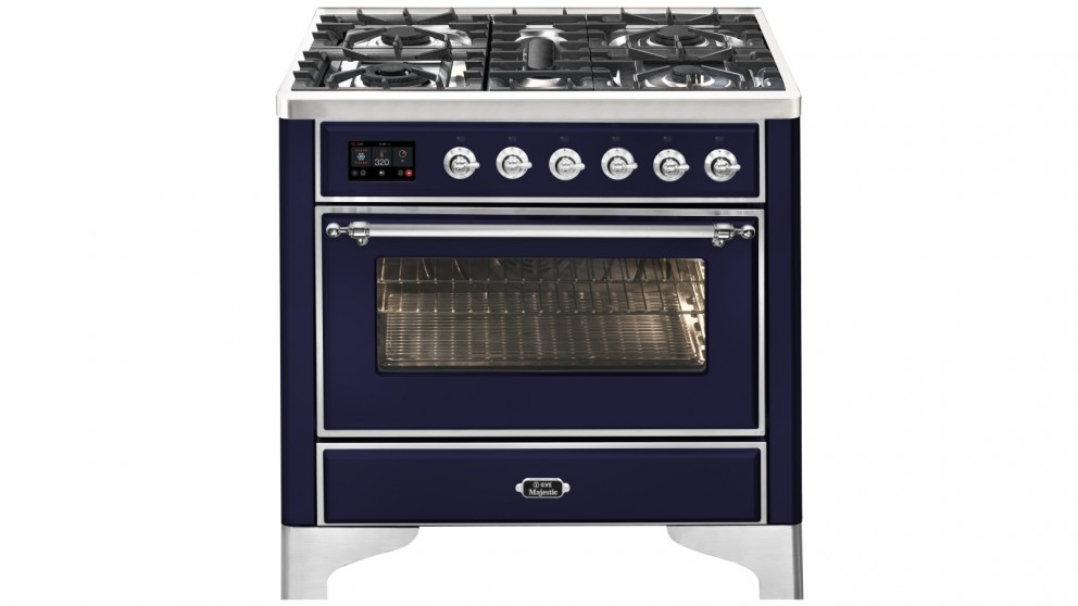 ILVE 900mm Majestic Electric Oven Dual Fuel Freestanding Cooker with Gas Cooktop - Midnight Blue