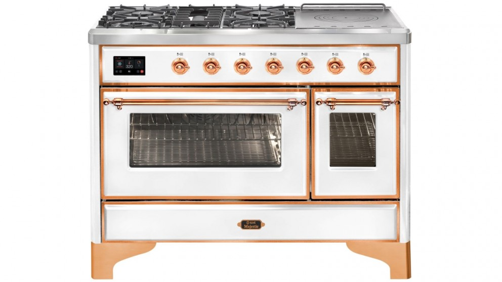ILVE 1200mm Majestic Electric Oven Dual Fuel Freestanding Cooker with Gas Cooktop - White/Copper