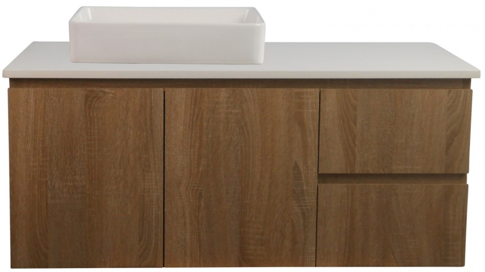 Ledin Mosman 1200mm Wallnut Wall Hung Vanity with White Stone Bench Top & Daria Basin