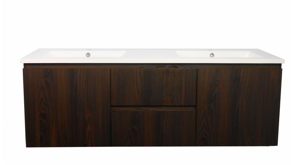 Ledin Mosman 1500mm Ebony Wall Hung Vanity with Double Bowl Polymarble Top