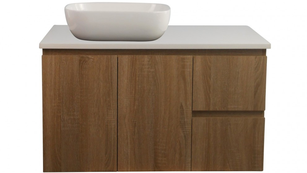Ledin Mosman 900mm Wallnut Wall Hung Vanity with White Stone Bench Top & Cruze Basin