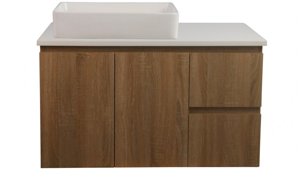 Ledin Mosman 900mm Wallnut Wall Hung Vanity with White Stone Bench Top & Daria Basin